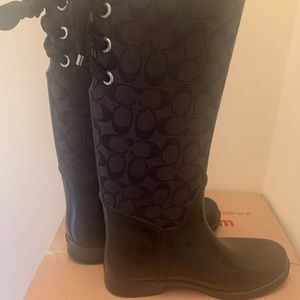 Coach tall lace-up rain boots